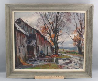 Large Antique Emile Gruppe American Impressionist Vermont Landscape Oil Painting