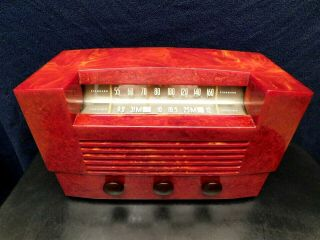 Vintage Rca Victor Antique Old Art Deco Marbled Red Catalin Bakelite Tube Radio