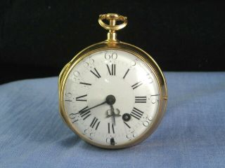 Antique French Gold Pocket Watch Oignon Gloria Rouen Verge Fusee C1700