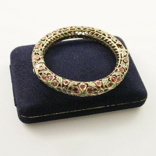 Antique Vintage Art Nouveau 14k Gold Mughal India Emerald Ruby Sapphire Bracelet