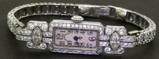 Tiffany & Co Antique Art Deco Platinum 3.  49ct Vs Diamond Ladies Mechanical Watch