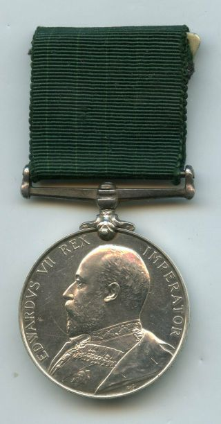 British Volunteer Force Long Service Medal Edward Vii 7th Lanc: R.  G.  A.  V.