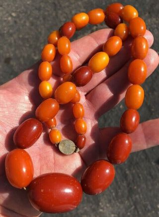 81 Grams Antique Baltic Egg Yolk Butterscotch Amber Prayer Beads