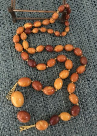 Antique Baltic Egg Yolk Butterscotch Amber Graduated Beaded Necklace