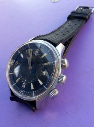 EXTRIMLY RARE 1968 JAEGER LECOULTRE POLARIS E859 MEMOVOX 42MM Men ' s Watch 2