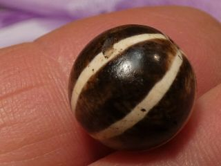 Ancient Pumtek Pyu Bead  6 Stripe Sun Ray  Rare 14 Mm Silky Smooth Patina