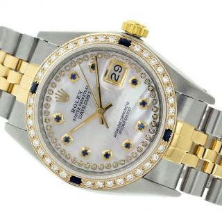 Rolex Watch Mens 36mm Gold And Steel White Mother Of Pearl Sapphire/diamond