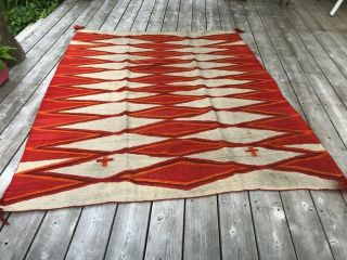 "Antique Navajo Rug Blanket Native American Southwest Textile 73 "" X 62 """
