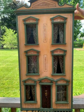 Miniatures Antique / Vintage German Dollhouse W/ Built In Furniture,  Lithograph