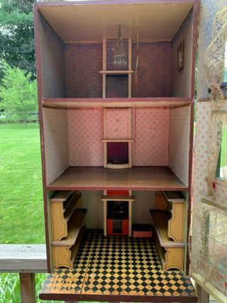 Miniatures Antique / Vintage German Dollhouse w/ Built In Furniture,  Lithograph 5