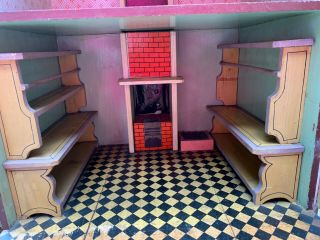 Miniatures Antique / Vintage German Dollhouse w/ Built In Furniture,  Lithograph 6