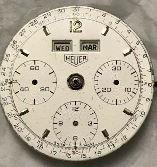 Vintage Heuer Dato 12 Chronograph For Ref.  2547s Only Dial And Movement V72c.