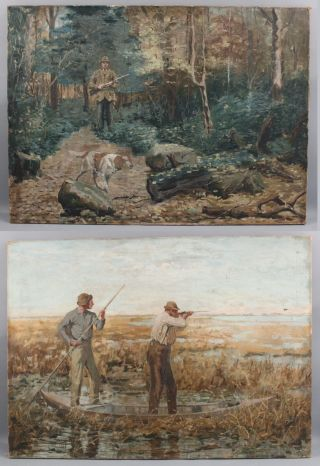 Antique American Illustration Bird Dog Hunting Oil Paintings Aft.  Arthur B Frost
