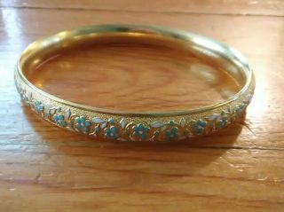 Antique Art Nouveau 14k Bangle Bracelet,  Krementz,  Blue Forget - Me - Not Flowers