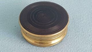 Handsome Late Georgian Brass Body Snuff Box W Lathe Turned Horn Disc Covers