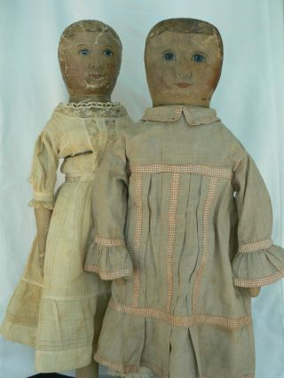 RARE antique Emma Adams oil painted COLUMBIAN cloth doll Sister ' s LOOK 2