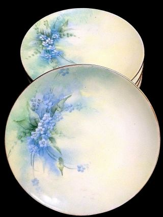 Set Of Six Antique Dated 1916 Signed Hand Painted Forget Me Not Cabinet Plates