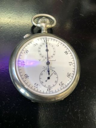 Military Grade Cl Guinand Split Second Chronograph Pocket Watch Porcelain Dial