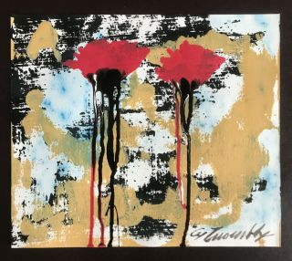 Cy Twombly Rare Oil Painting Hand Signed Vintage Flowers