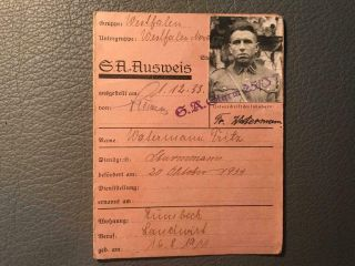 "Very Rare German Wwii Early 1933 Sa Member Card "" Sa Ausweis """
