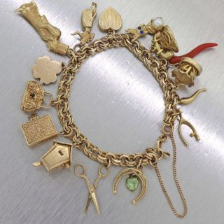 1950s Vintage Estate 14k Solid Yellow Gold Charm Bracelet D8