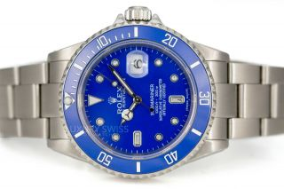 Rolex Mens Watch Submariner 16610 Stainless Steel 40mm Blue Face With Diamonds