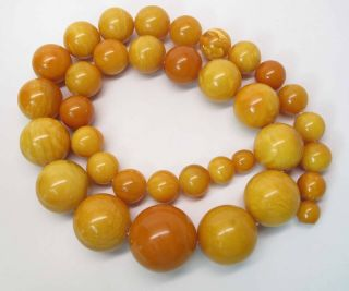 Antique Round Egg Yolk Baltic Amber Necklace W/ 30 - Mm Center Bead 164.  6 Grams