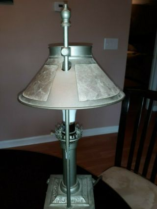 Antique Mica Lamp & Shade Mission Arts & Crafts (stickley Era) Adjustable Height