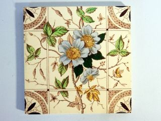 Antique England Tile Washstand Fireplace Wash Stand Victorian Flowers