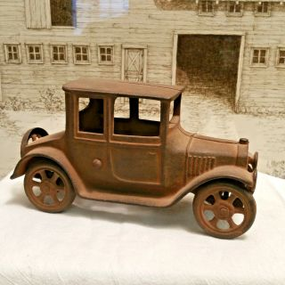 Old Antique Large Cast Iron Model T Ford Coupe Toy Car Automobile