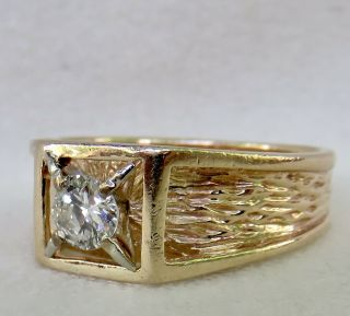 MENS VINTAGE ARTS & CRAFTS.  55 CT.  OLD EUROPEAN DIAMOND SOLITAIRE 14K GOLD RING 2