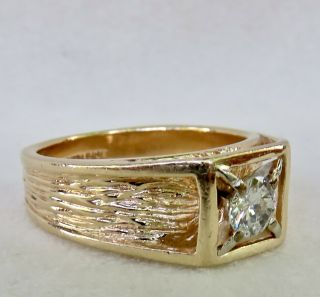 MENS VINTAGE ARTS & CRAFTS.  55 CT.  OLD EUROPEAN DIAMOND SOLITAIRE 14K GOLD RING 3