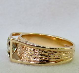 MENS VINTAGE ARTS & CRAFTS.  55 CT.  OLD EUROPEAN DIAMOND SOLITAIRE 14K GOLD RING 4