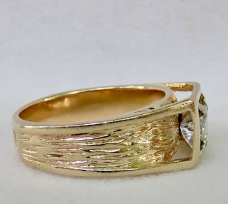 MENS VINTAGE ARTS & CRAFTS.  55 CT.  OLD EUROPEAN DIAMOND SOLITAIRE 14K GOLD RING 5