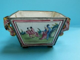 A Rare 18thc Chinese Two Handled Enamel Bowl With Dragon Handles & 4 Scenes.