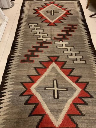 Antique 1800's Native American Navajo Hand Knit Rug 7