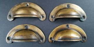 """4 Small Antique Bin Cup Pull Drawer Caboinet Handle Solid Brass 2 - 3/4 """" Wide A14"""