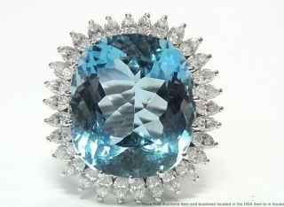 24.  50ct Gem Quality Aquamarine 2.  35ctw Diamond Platinum Ring Vintage Statement