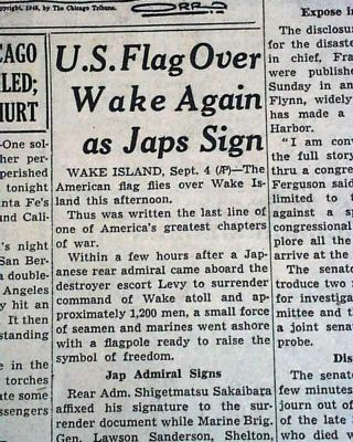 Wake Island Back In U.  S.  Marines Possession Post World War Ii 1945 Old Newspaper