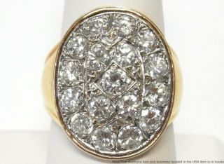 Huge 3.  60ctw Ultra Gem Quality Diamond 14k Gold Mens Ring Signed Vintage Sz 9.  25