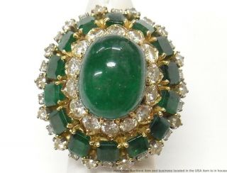 28ctw Natural Emerald,  4.  00ctw Fine Diamond 18k Gold Ring 1950s Giant Statement