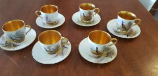 Set Of 6 Antique Vintage Royal Worcester Stinton Pheasants Cup And Saucers