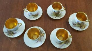 SET OF 6 Antique VINTAGE Royal Worcester Stinton Pheasants Cup and Saucers 2