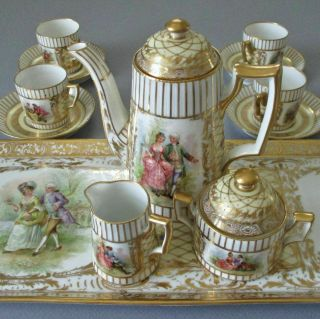 Antique Dresden Hp Porcelain Teapot S&c Tray 4 Cups,  Saucers Figures Gilt Paste