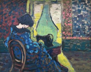 E.  Vuillard 97 signed antique oil / board painting French? 2
