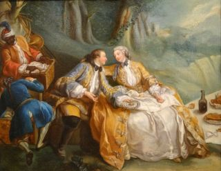 18th Century French Lover Picnic Fete Champetre Antique Oil Painting Fragonard 2