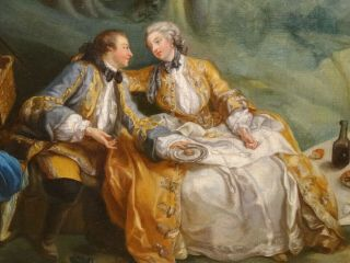 18th Century French Lover Picnic Fete Champetre Antique Oil Painting Fragonard 4