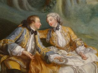 18th Century French Lover Picnic Fete Champetre Antique Oil Painting Fragonard 5