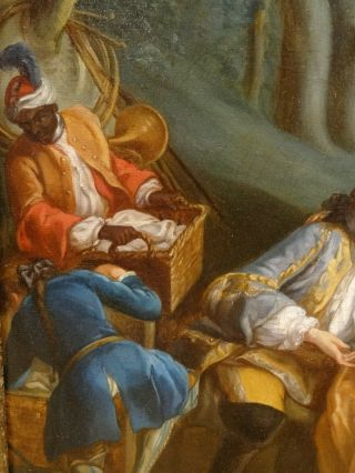 18th Century French Lover Picnic Fete Champetre Antique Oil Painting Fragonard 6