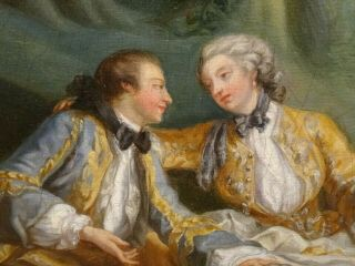 18th Century French Lover Picnic Fete Champetre Antique Oil Painting Fragonard 7